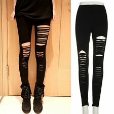 Women Skinny Black Leggings Stretchy Sexy Slim Hole Ripped Leggings Tight Pants
