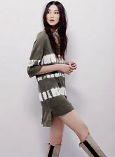 NEW Free People WTF olive tie dye Off The Shoulder Canyon Thermal Tunic Dress S