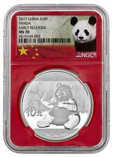2017 China Silver 10 Yuan - Panda - MS 70 ER - Red Core - Panda Label - NGC Coin
