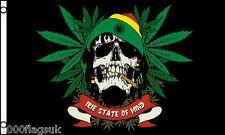 Rasta Skull Rastafarian Cannabis Leaf 5'x3' Flag !