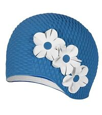 Vintage Style Ladies Blue Bubble Floral Swim Cap Beige Flowers Adult New