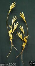 Vintage Wheat Stalks Leaf Gold Metal Wall Hanging Sculpture Mid Century Art 32""