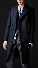Men Double Breasted Wool Blend Long Jacket Trench Coat Warm Peacoat Outerwear
