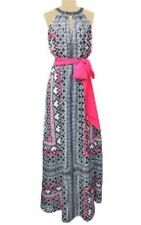 VINCE CAMUTO Maxi Dress Black Pink Graphic Halter Sleeveless 2 XS Embellished