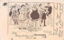 The Merry Bathers of RIVERSIDE CA Cartoon Comic California Vintage Postcard 1908