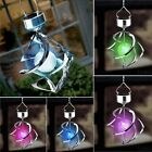Creative Solar Power Garden Light Courtyard Hanging Spiral Lamp LED Wind Spinner