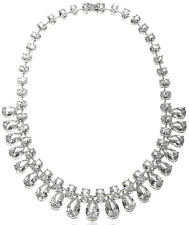 NWT CZ by Kenneth Jay Lane Rhodium Plated AMAZING Red Carpet Bib Necklace