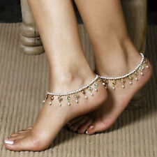 Beach style Bare Foot Chain Pearl Beads Crystal Tassels Stretch Anklet Bracelet
