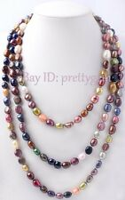 "8-10MM NATURAL FREEFORM SHAPE MULTICOLOR FRESHWATER PEARL NECKLACE 60"" NOT CLASP"