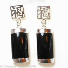 Vintage Natural Black Agate 925 Sterling Silver Fortune Lucky Earrings