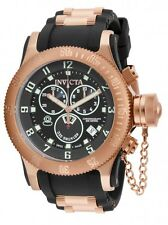New Men's Invicta 15567 Russian Diver Swiss Chronograph Black Dial Poly Watch