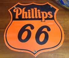 classic PHILLIPS 66 orange - heavy duty 18 gauge steel die-cut porcelain sign