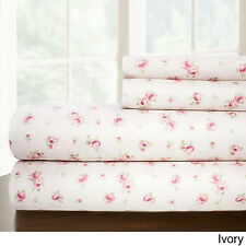 Sweet Rose Printed 4 pc Sheet Set Full Ivory Polyester Machine Wash Floral linen
