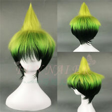 "12"" 30cm Gradient Yellow to Dark Green Blue Exorcist Amaimon Cosplay Wig new"