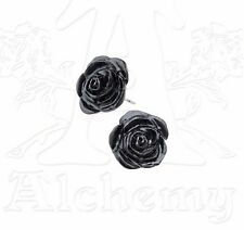 The Romance of Black Rose Stud Earrings Surgical Posts Pair E339 Alchemy Gothic