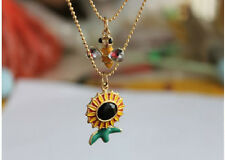 N362 Betsey Johnson Dangling Honey Bee with SunFlower Sun Flower Necklace US