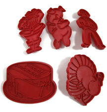 5 Vintage Tupperware Cookie Cutters Red Plastic Santa Claus Turkey Birthday Cake