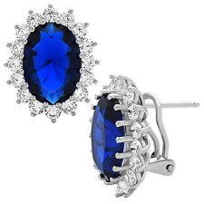 Blue Sapphire Stud Earrings .925 Sterling Silver Princess Diana Earrings
