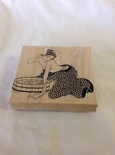 Curtis Uyeda Rare Large Rubber Stamp Tub Woman by Eisen Geisha Japanese