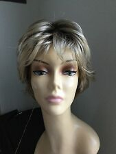 JON RENAU Short Shag Open Cap Wig, Blonde with darker roots 12FS8