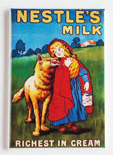 Little Red Riding Hood Milk FRIDGE MAGNET (2 x 3 inches) big bad wolf sign