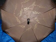 Vintage Official Paul Masson Brown Gold Print Umbrella With Wooden Handle New