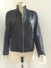 Womens 'Real Leather' Short Rock Biker Coat / Jacket - Black Size 8-10