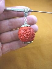 (J-27) RED LARGE CINNABAR Pendant necklace carved wood lacquer bead jewelry