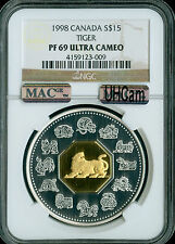 1998 CANADA 24K GILT SILVER TIGER LUNER NEW YEAR NGC MAC PF-69 ULTRA HEAVY CAM .