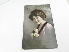 VINTAGE HERE BY THE SEE I THINK OF THEE YOUNG GIRL PHOTOGRAPH POSTCARD ANTIQUE