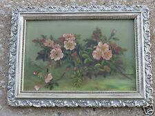ANTIQUE VICTORIAN FLORAL APPLE BLOSSOMS OIL PAINTING ON GLASS ORIG FRAME