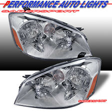 PAIR CHROME HOUSING HEADLIGHTS HALOGEN TYPE FOR 2005-2006 NISSAN ALTIMA