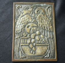 Arts & Crafts Period Two Crows on Bowl Bronze Plaque