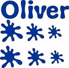 Personalised Name and Paint Splats Vinyl Stickers for boys or girls Bedrooms etc