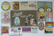 LOVELY MIXED COLLECTION  14 VINTAGE LABELS CHEESE HATS DRINKS CHEMIST FABRIC ETC