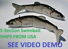 2 Multi Jointed 5-Section Fishing Swimbait Crankbait Lure - Baby Striped Bass