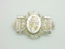 Gorgeous Antique Victorian 1892 Sterling Silver & Gold Floral Locket Brooch