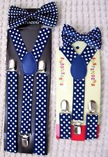Father & Son Blue with White Polka Dots Adjustable Bow Tie & Suspenders Combo