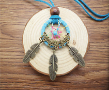 NEW Retro Handmade Dreamcatcher Feathers With Bead Long Chain Blue Necklace NG