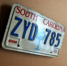 South Carolina antigua matrícula estados unidos 1986 license plate zyd 785 Palmetto Tree