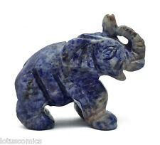 Hand Carved Gemstone Animal -  Elephant - Natural Blue Sodalite - Strength