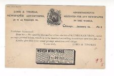 1897 UX12 Postal Card, Chicago Illinois Advertising, Newspaper, Wire Fence