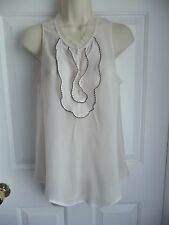 Blouse S/M Staring At Stars Urban Outfitters Ruffled Front Sleeveless CreamWhite