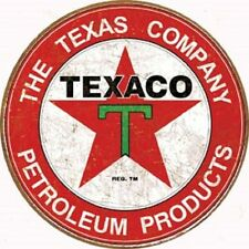 Texaco Petroleum Gasoline Round Tin Metal Sign Garage Gas and Oil Ad