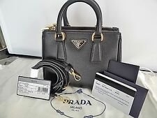 PRADA Saffiano Lux Mini Double Zip Satchel Tote Crossbody Bag 1BH907 Black $1350