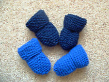 BABY BOYS HAND KNITTED MITTENS, 2 PAIRS ROYAL BLUE & NAVY BLUE, 0-3 MONTHS, NEW