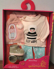 "Our Generation Warm Days KEEP WARM Winter Clothes Outfit 18"" girl doll American"
