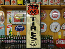 """PHILLIPS 66 MODERN TIRES SIGN EMBOSSED LICENSED PRODUCT USA MADE 14X42"""""""