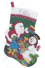 "Bucilla 18"" Christmas Felt Stocking Kit ""Santa & Snowman"" Train, Drum, Rocking h"