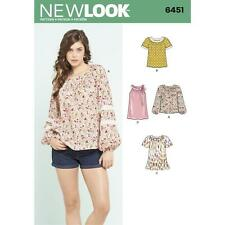 NEW Look Sewing Pattern MISSES'S BLOUSE con len variazione Manica Taglia 10-22 6451